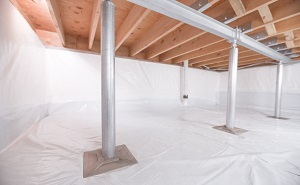 Crawl space structural support jacks installed in Albia