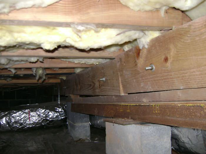 Sagging Crawl Space With Wooden Shimming A Boone Crawl Space